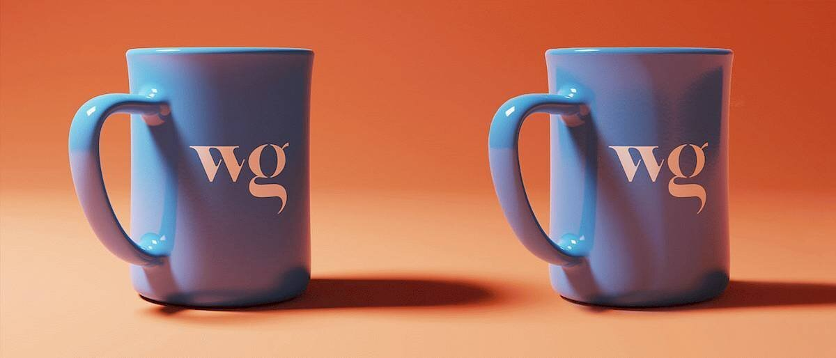 Two mugs created in Keyshot, on is lit by an area light and the other is lit by an HDRI.