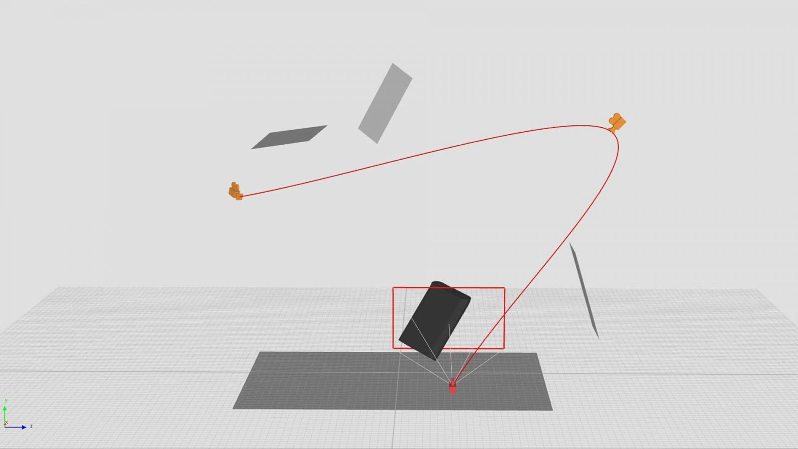 A camera path shown in the KeyShot Geometry View