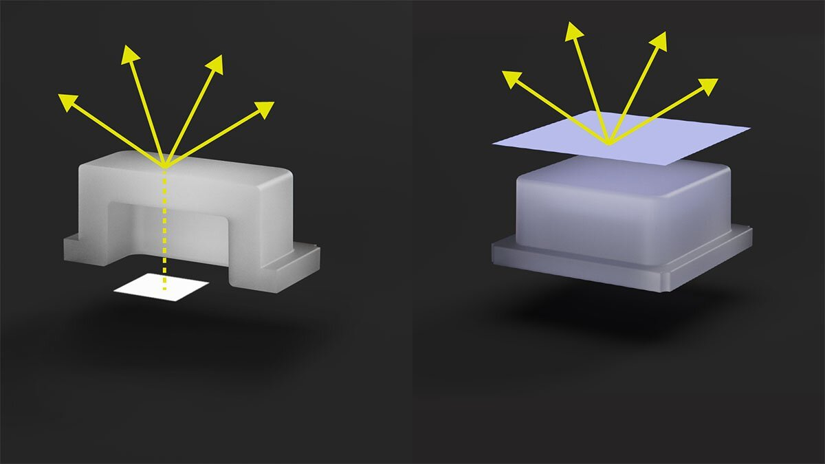 Light transmitting from an LED through a button (left) vs Light emitting from an emissive label on a button (right)