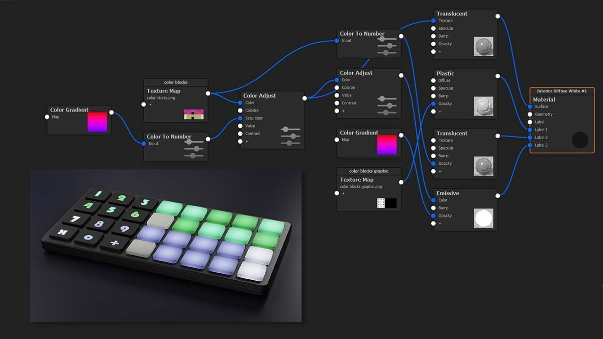 This is what the silicone buttons material graph looks like in KeyShot